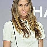 Elisa Sednaoui wore a vintage-inspired crystal brooch at the Chanel Fall 2012 show during Paris Fashion Week.