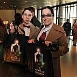 Eleventh Doctor fans show off their commemorative convention tote bags.  Photo: Doctor Who Facebook, Alexandra Thompson