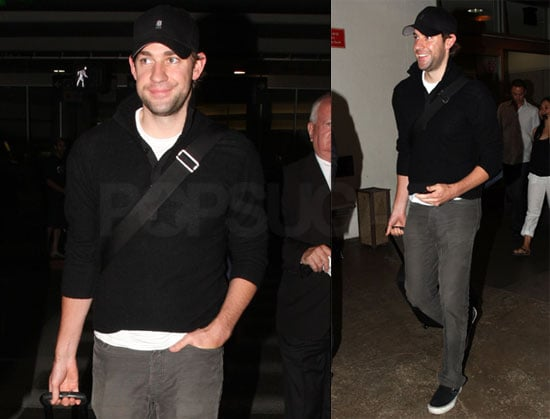 Photos of Newly Engaged John Krasinski Arriving at LAX