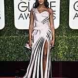 Naomi Campbell in a Versace gown in 2017.