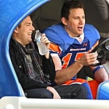 Channing Tatum and Jonah Hill shared a laugh on the set.
