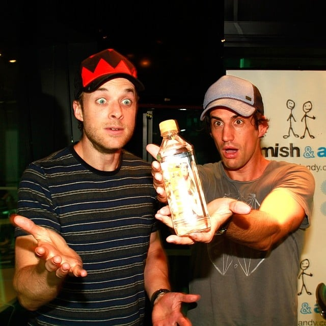 Hamish Blake and Andy Lee launched charitable gold water bottles for Cotton On. Source: Instagram user hamishandandy