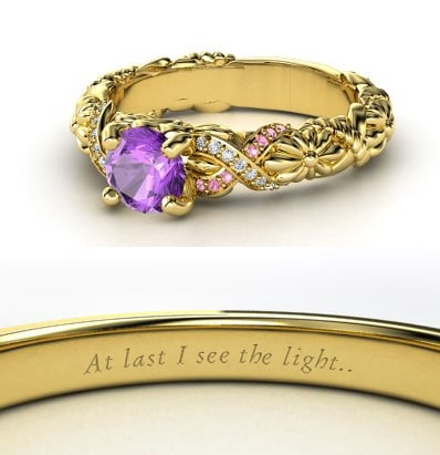 Sierra from Heck Yeah Disney Merch used Gemvara to create these Disney-princess-inspired rings — and they are spot-on, right down to the personalized engraving. You can buy Rapunzel's ring here!