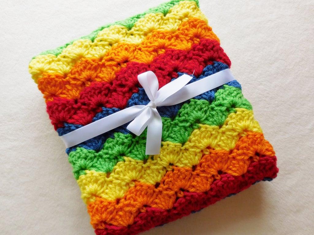 Handmade Crocheted Rainbow Baby Blanket