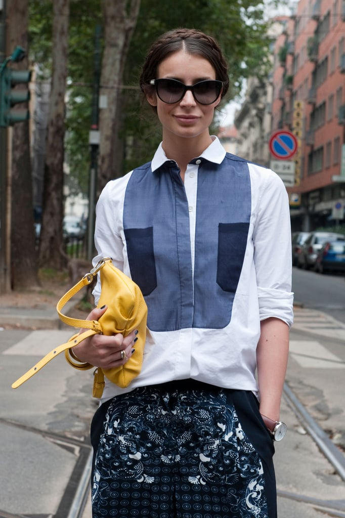 A pop of yellow was just the thing to complement her blue hues. Source: Greg Kessler