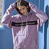 Balant W Concept Slogan Contrast Cut Basic Hoodie