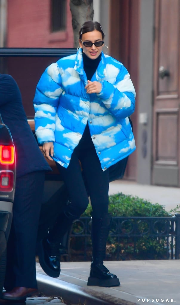 Irina Shayk Wearing a Cute Cloud-Print Moschino Puffer