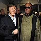 Paul McCartney and Stevie Wonder backstage together at the Grammys.
