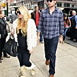 Jessica Simpson and Eric Johnson dressed comfortably shopping around Manhattan.