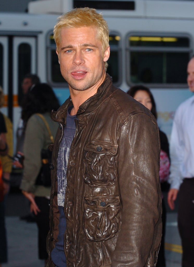 """A bleach-blond Brad said """"hey, girl"""" to the crowd as he arrived for the LA premiere of Mr. and Mrs. Smith back in June 2005."""