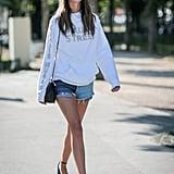 Dress up cutoffs with wearable heels.