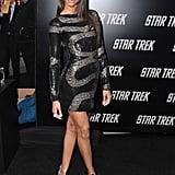 Zoe in beaded Pucci at the Star Trek premiere in LA.