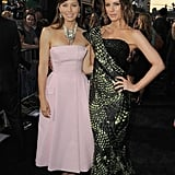 Jessica Biel and Kate Beckinsale linked up on the carpet at the Total Recall premiere in LA.