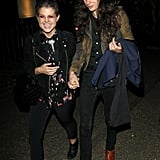 Kelly Osbourne took the hand of her boyfriend Matthew Mosshart leaving a party in London.