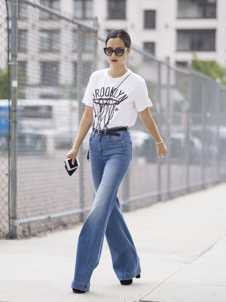 Tuck a White Tee Into a Pair of Belted Flares and Slip On Your Highest Heels
