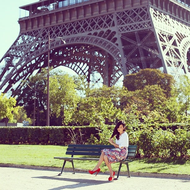 Gary Pepper Vintage's Nicole Warne takes a seat in front of the Parisian icon. Source: Instagram user garypeppergirl