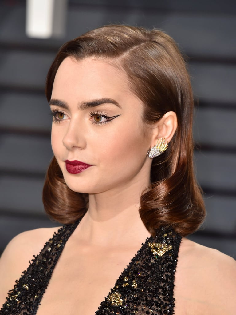 Lily Collins's Negative-Space Cat Eye | Oscars 2017 ...