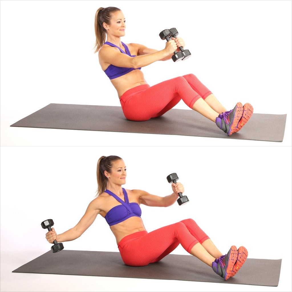 V-Sit With Single-Arm Chest Fly