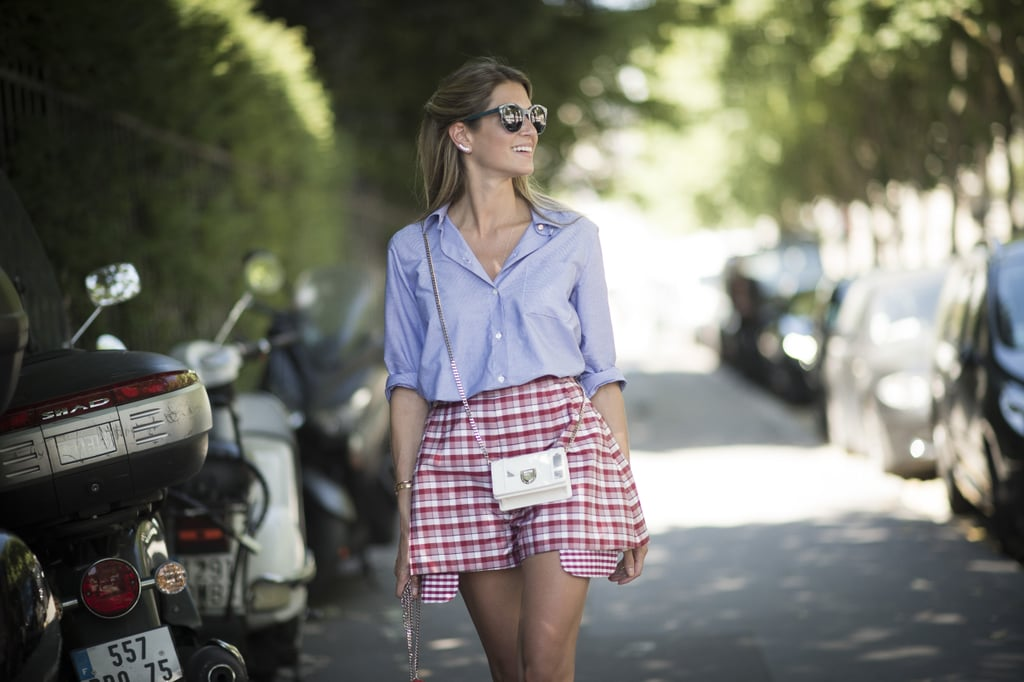 Experement with gingham like street style star Helena Bordon.