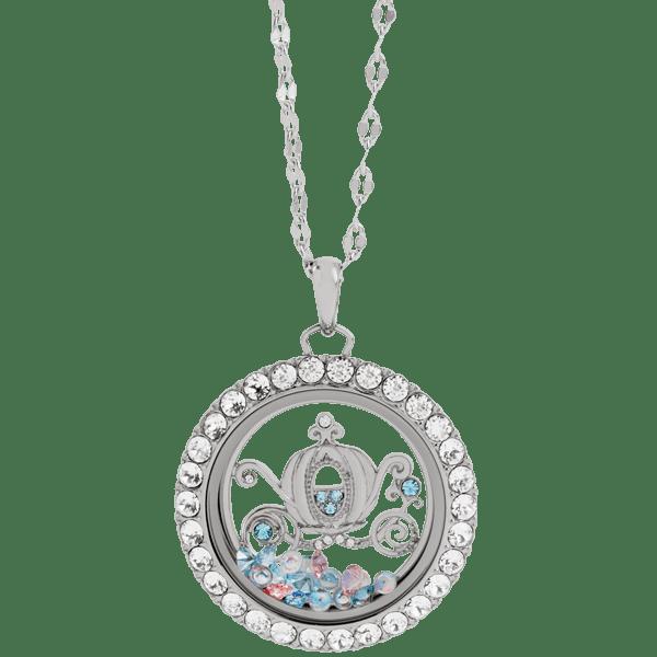 Disney Cinderella Large Silver Living Locket With Swarovski Crystals