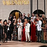 Gwyneth Paltrow and Valentino Garavani, founder of Valentino, congratulated the line's designers, Maria Grazia Chiuri and Pierpaolo Piccioli, after their July couture show in Rome.
