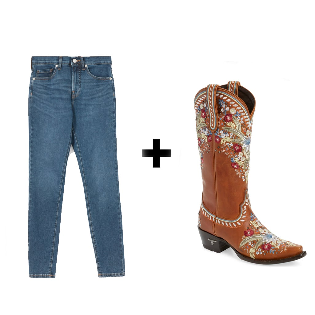 Everlane The Authentic Stretch Mid-Rise Skinny ($68) + Lane Boots Chloe Floral Embroidered Western Boot ($475)