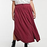 ASOS Design Curve Box Pleat Midi Skirt