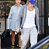 Hailey Baldwin Oversize Button Down and Boots 2018