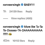 Deepika's Husband Ranveer Singh — Who's Also a Bollywood Star — Couldn't Resist From Commenting