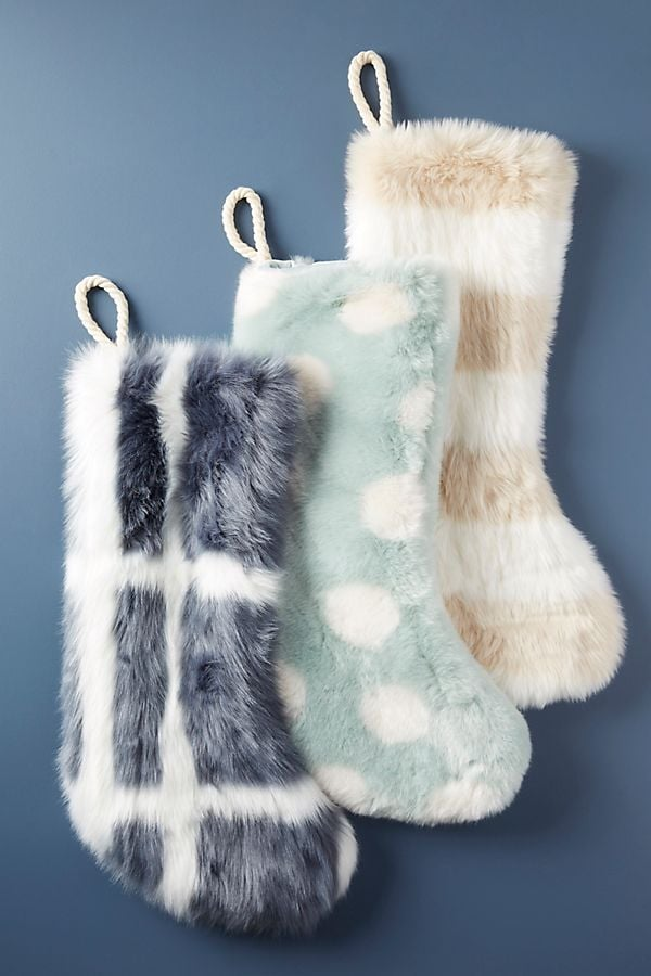 Patterned Faux Fur Stocking