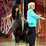 "Sandra Bullock (in J Brand ""912"" jeans) and Betty White get down."