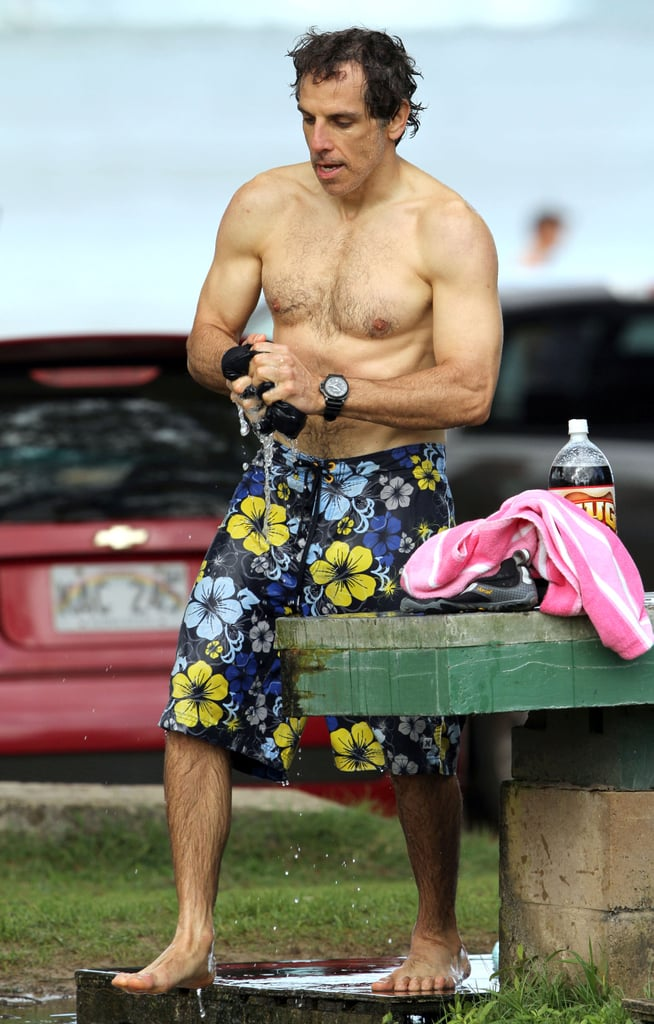 Ben Stiller was shirtless after a surfing session.