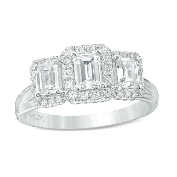 Vera Wang Love Collection 1-1/3 CT. T.W. Emerald-Cut Diamond Three Stone Frame Engagement Ring