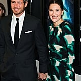 Drew Barrymore posed for pictures with fiancé Will Kopelman.