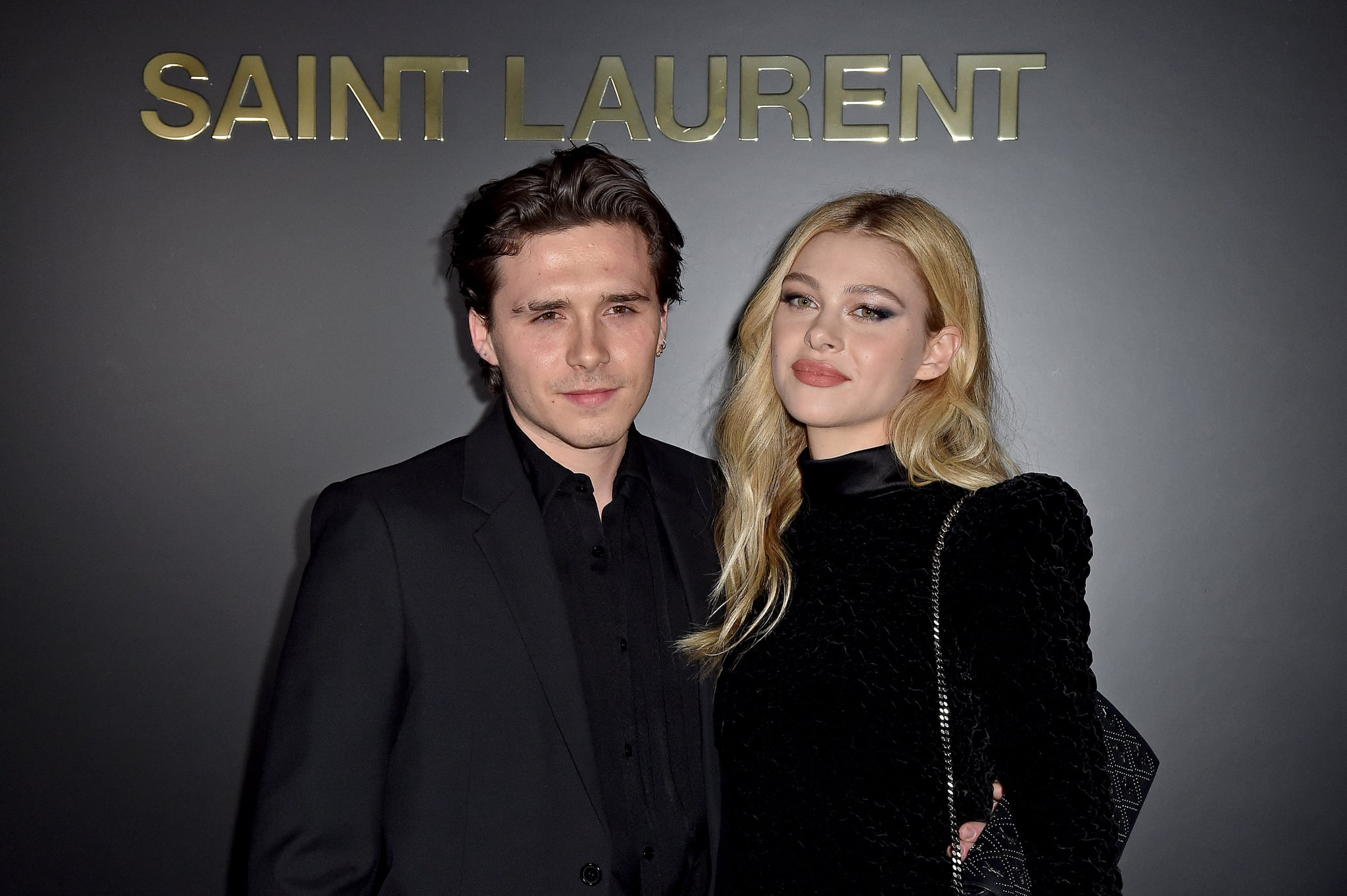 PARIS, FRANCE - FEBRUARY 25: (EDITORIAL USE ONLY) Brooklyn Beckham and Nicola Peltz attends the Saint Laurent show as part of the Paris Fashion Week Womenswear Fall/Winter 2020/2021 on February 25, 2020 in Paris, France. (Photo by Dominique Charriau/WireImage)