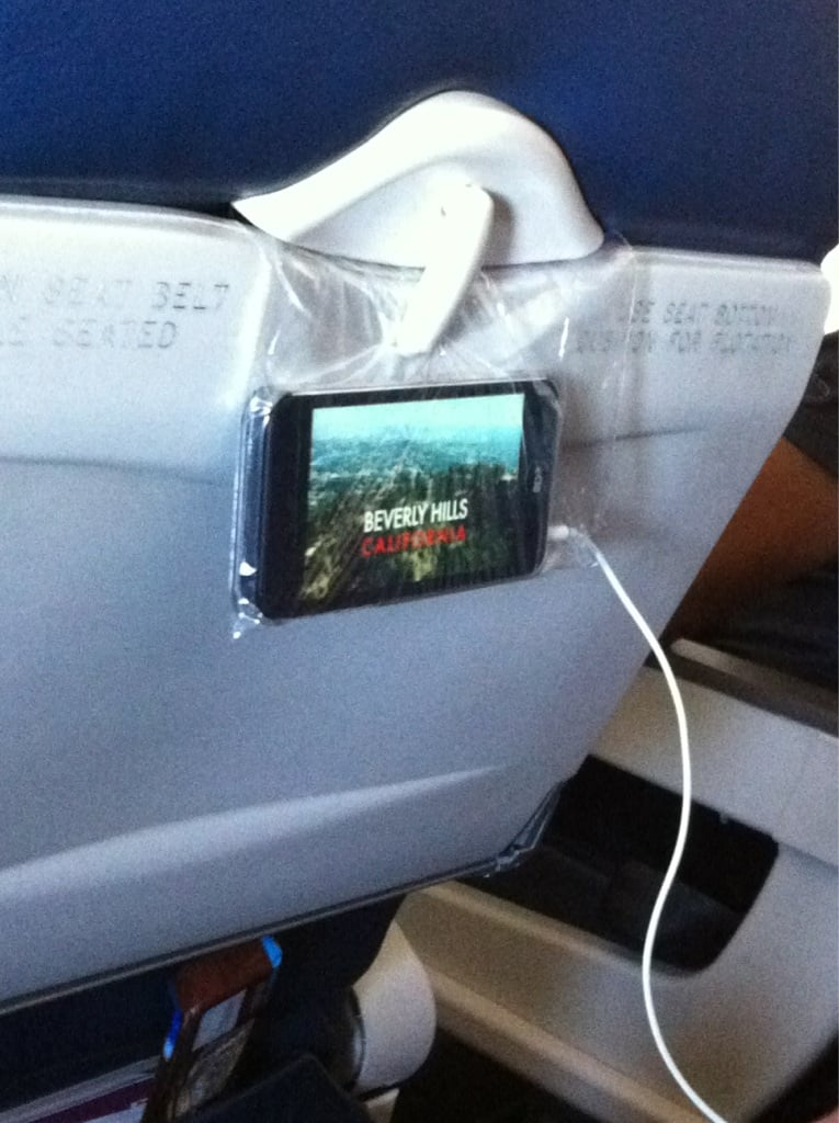 Use a plastic bag to create your own in-flight viewing experience.