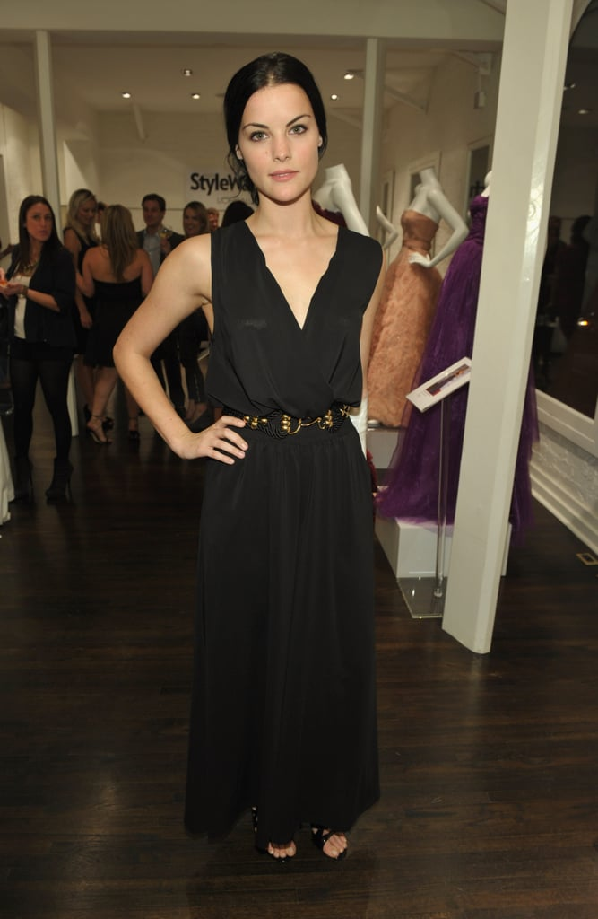 Jaimie Alexander kept it simple in a belted, black, sleeveless maxi.