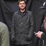 Joshua Jackson waited between takes.