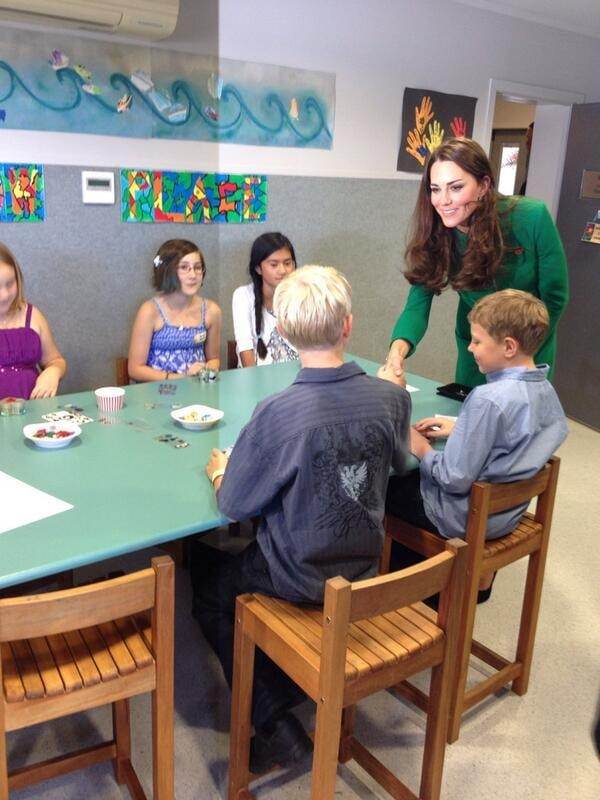 Kate greeted children at a hospice in New Zealand. Source: Twitter user GovGeneralNZ