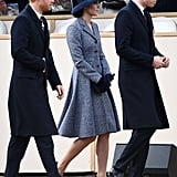 Kate Middleton Stepped Out in a Blue Michael Kors Coat and Matching Brimmed Hat