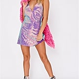 Daija Purple Iridescent Sequin Plunge Dress