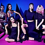 The Rihanna For River Island campaign, featuring an apropos cool-girl set of models: Jourdan Dunn, Bambi Northwood-Blyth, Charlotte Free, Ataui Deng, and Tao Okamoto.