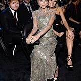 Taylor Swift hung with Ed Sheeran and a friend in the audience.