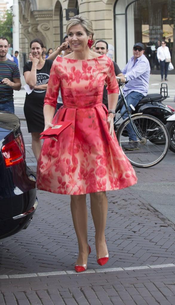 Queen Maxima 39 S Red Natan Dress At Holland Festival 2016 Popsugar Fashion