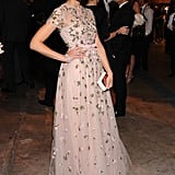 Jessica Alba wore an embellished Valentino dress with Harry Winston jewels and a Roger Vivier clutch.