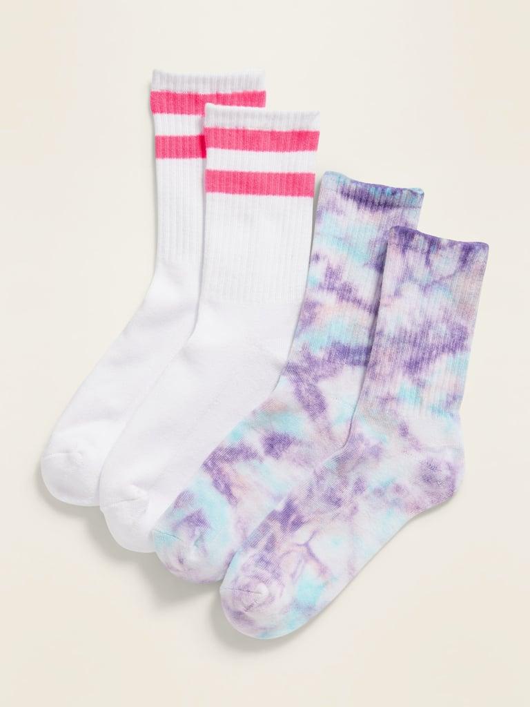 POPSUGAR x Old Navy Printed Unisex Socks 2-Pack — Pink Stripe/Purple Tie-Dye