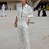 Victoria Beckham Wearing the Pajama Set She Designed