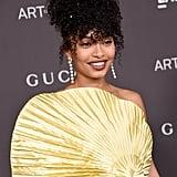 Yara Shahidi Wears Gold Gucci Gown to LACMA Art + Film Gala