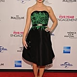Emily Blunt posed in a Jason Wu dress paired with green shoes to The Five Year Engagement premiere during the 2012 Tribeca Film Festival.