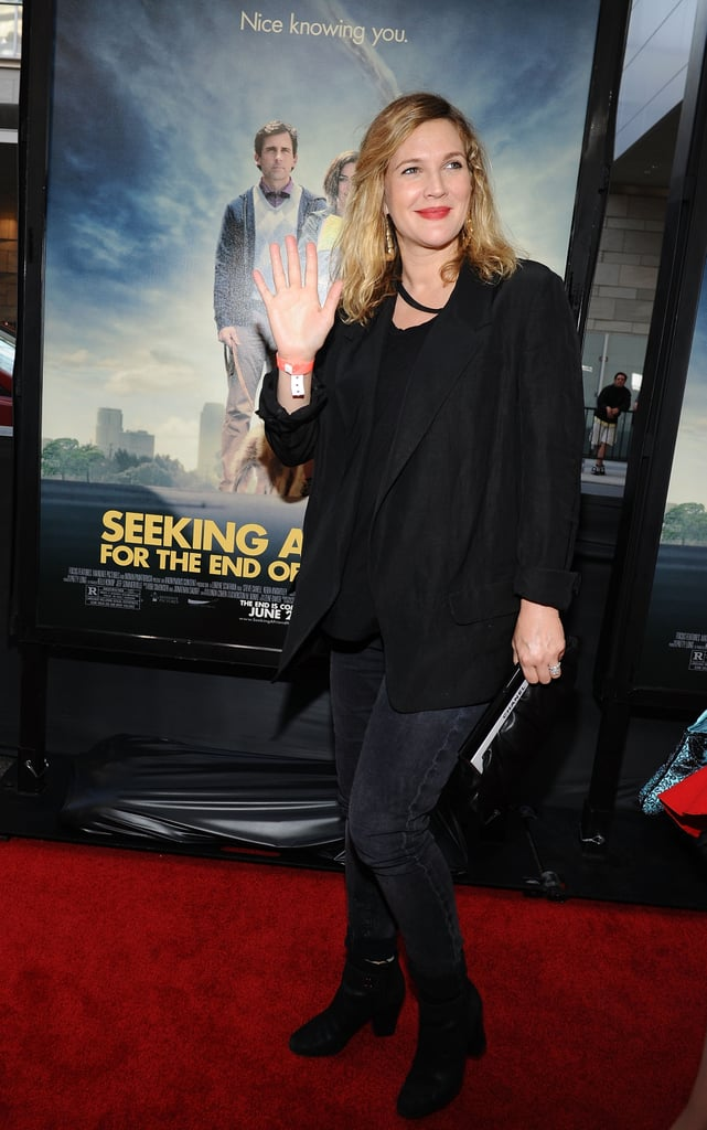 Drew Barrymore gave a wave at the LA premiere of Seeking a Friend For the End of the World.